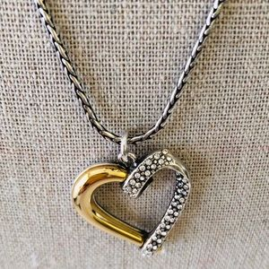 Brighton necklace silver and gold plated.  Heart